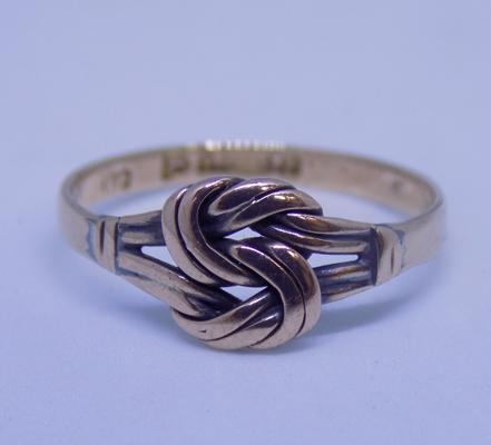 9ct rose gold lover's knot ring - size N