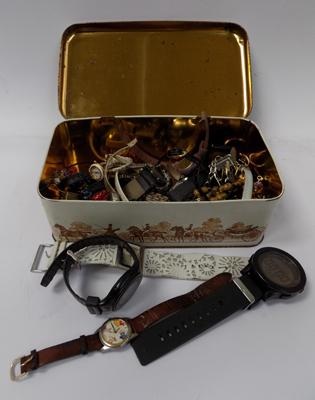 Tin of watches and jewellery