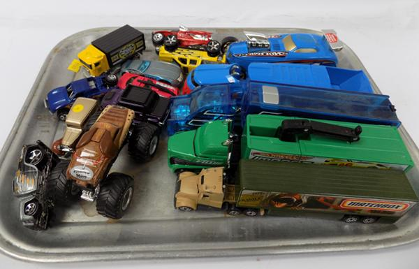 Tray of vintage Hot Wheel Diecast trucks and cars