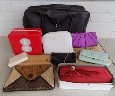 Holdall & collection of handbags