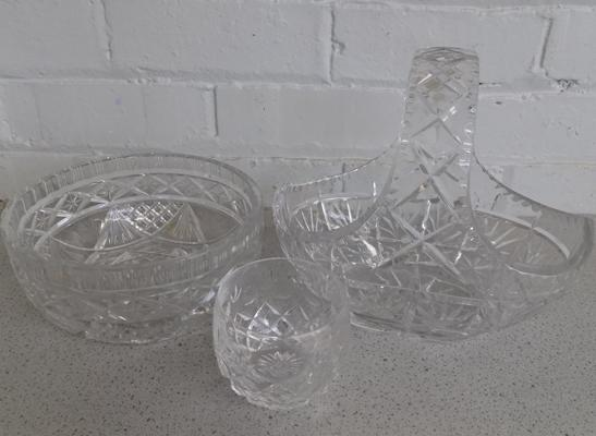 Three pieces of cut crystal