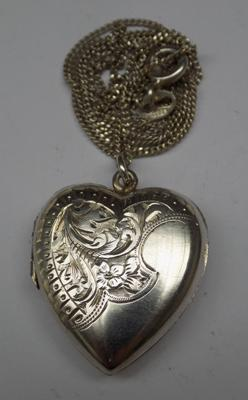 Sterling silver heart locket necklace on 18 inch silver chain