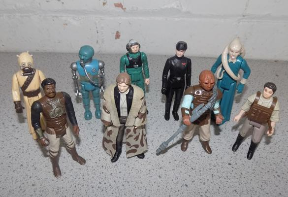 9x Vintage Star Wars figures inc rare 1984 A Wing pilot