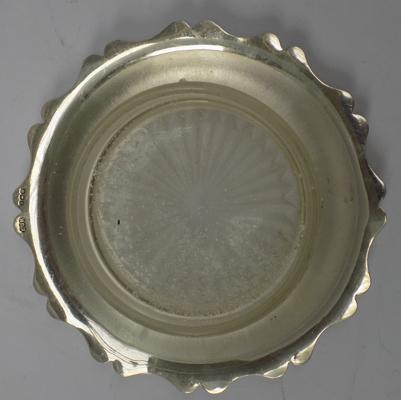 Sterling silver ash tray with glass base