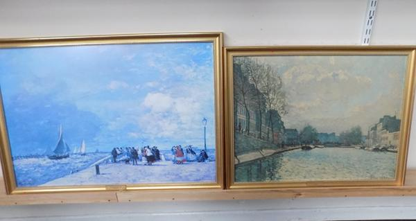 2 framed prints - 'E.Boudin' and 'A.Sisey'