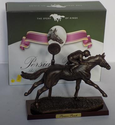 Boxed Sport of Kings - bronzed race horse, 'Persian Punch' on wooden base with certificate
