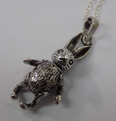 Silver articulated hare pendant on silver chain