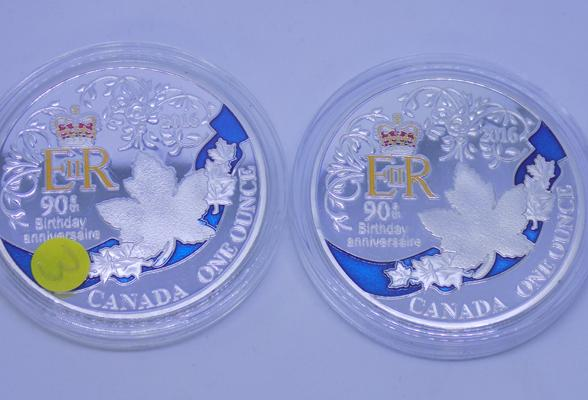 Two x Canadian 1 oz coins