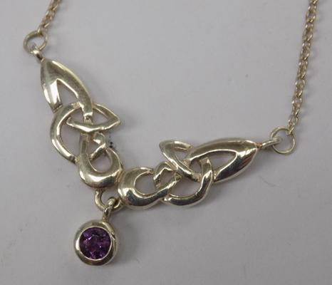 Celtic silver & amethyst necklace
