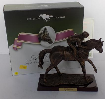 'Affirmed' racehorse on wooden base with certificate