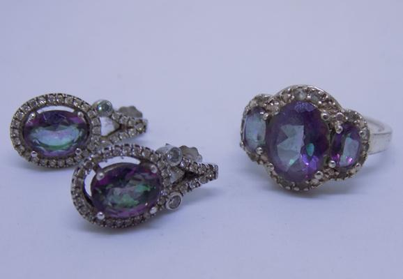 Mystic topaz silver ring and earrings