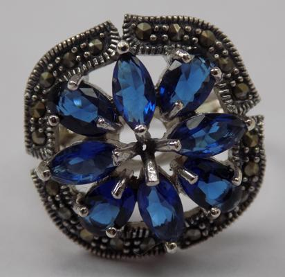 Silver blue sapphire & marcasite ring