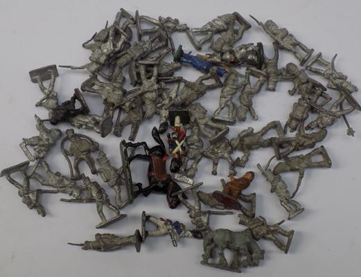 Large selection of lead soldiers painted + bare approx 50 in total