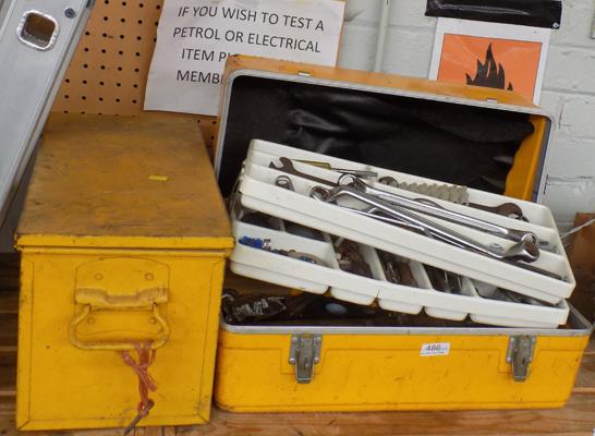 2x Yellow tool boxes (1 full of tools)