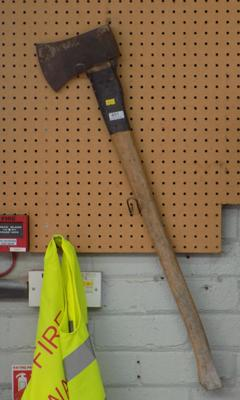 Large wooden axe