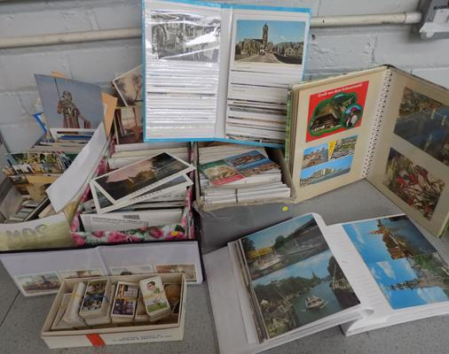 Three boxes of post cards, one cigar cards, 3 x albums, 1 box of cigarette cards