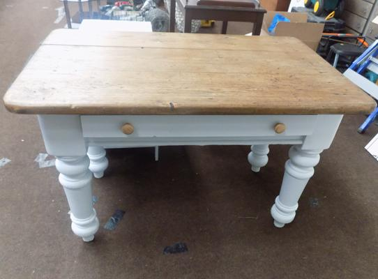 Wooden kitchen table with light grey painted legs, drawer to the front