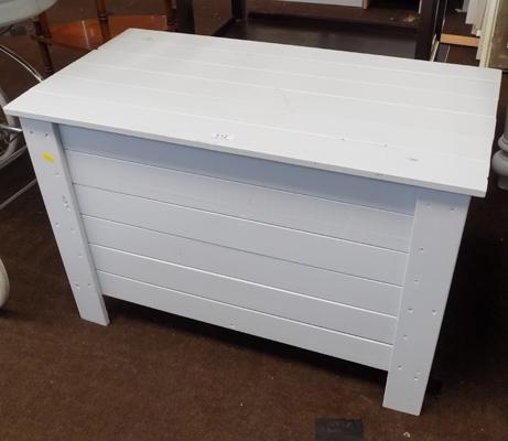 Light grey wooden toy chest