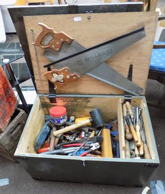 Wooden chest & tools inc saws