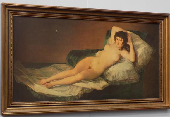Period picture of lady in nude pose