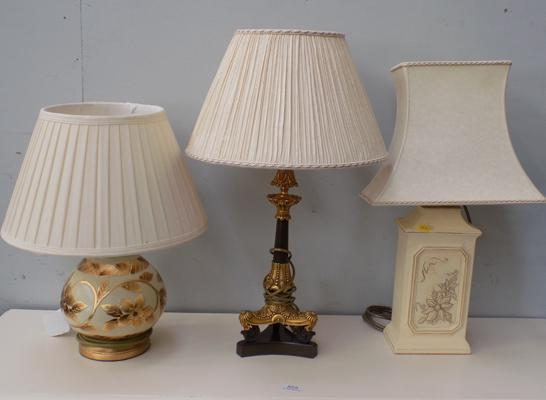 Selection of three table lamps