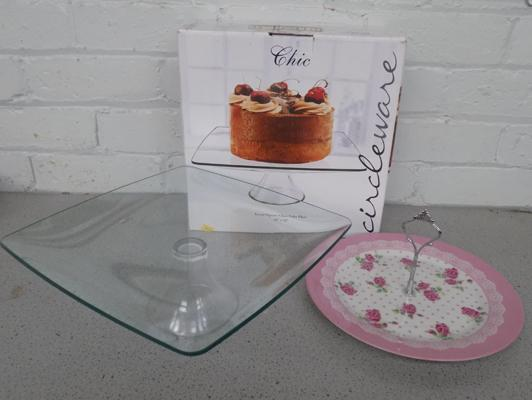2x Cake plates-1 boxed