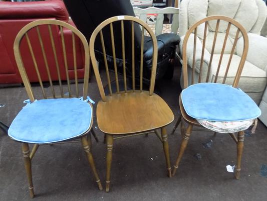3x Bow backed chairs