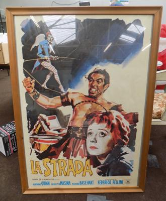 Framed La Strada film poster approx 30 inches x 42 inches