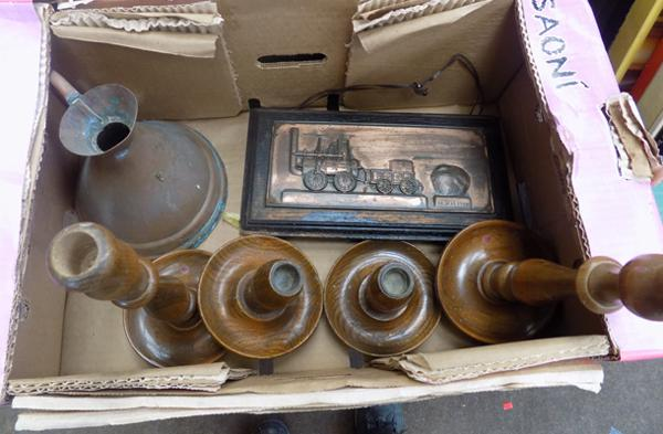 Mixed lot of wooden candle sticks, copper jug & wooden copper plaque