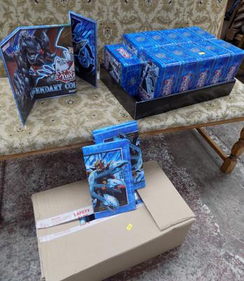 Yu-Gi-Oh tins with 6 cards & 1 box Yu-Gi-Oh trading boards