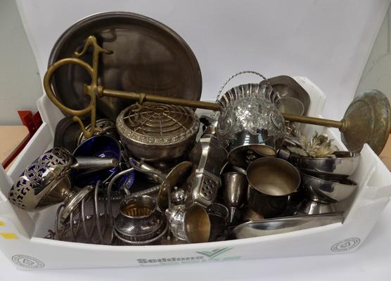 Box of vintage silver plated ware