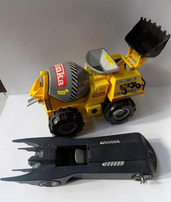 "Large scale tonka crane truck and 1970's Kenner bat car - 18"" long"