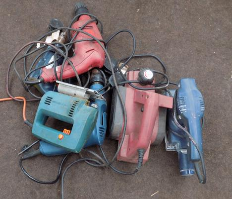 Box of various electrical tools