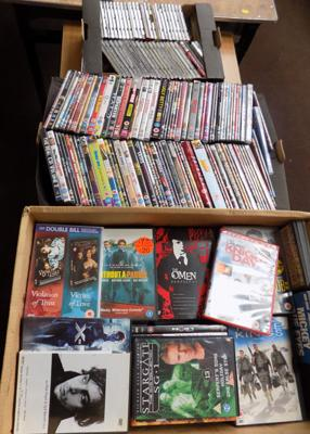 Two boxes of DVDs & one box of CDs