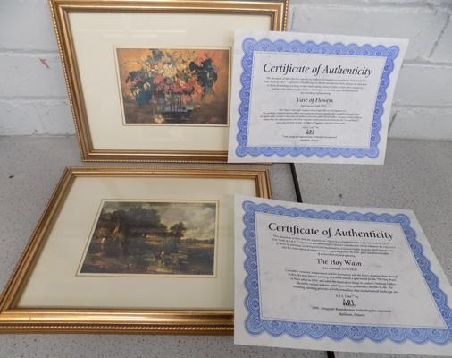 2x Art replicas with certificates of authenticity