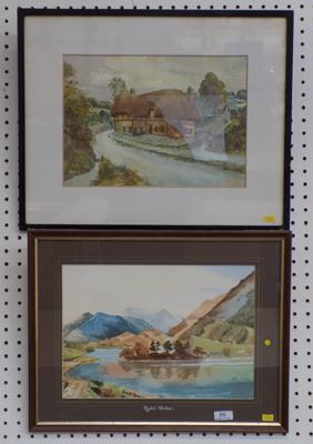 'Rydal Water' watercolour by John R Crossley, 1981, + one other watercolour