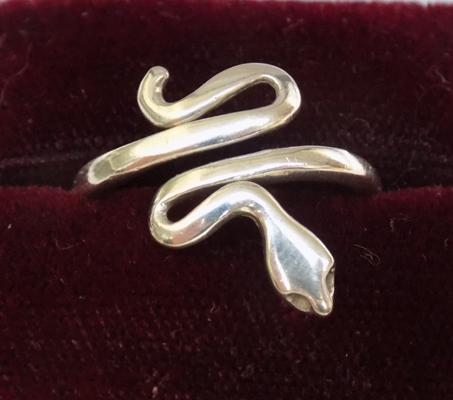 925 silver snake ring - approx. size P