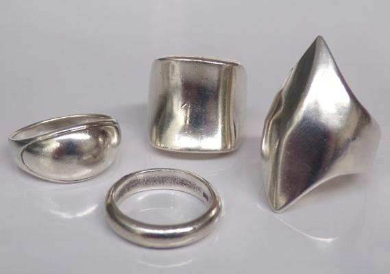 4x solid 925 silver rings - various sizes and designs