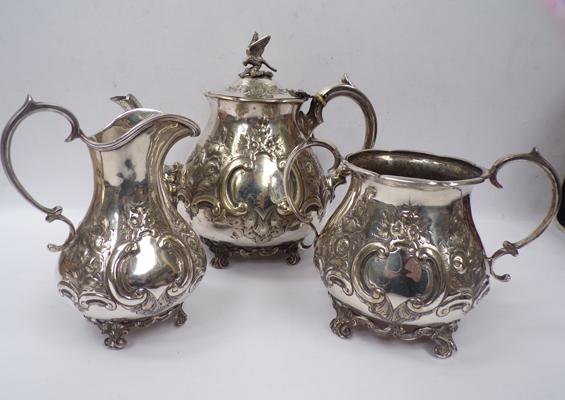 Antique Victorian silver plate teaset dated 1876