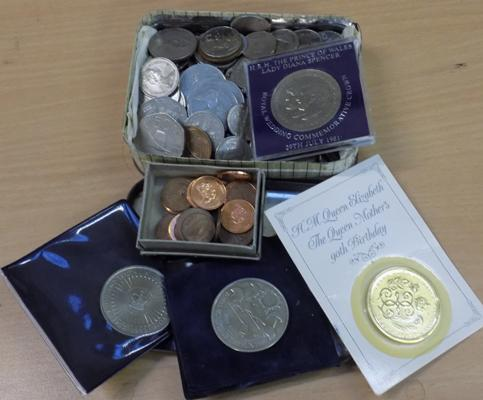 Selection of coins including £5 coins