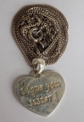 Sterling silver sister 'love you' pendant and necklace