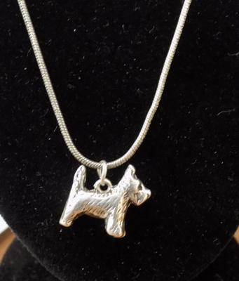 Solid silver Scottie dog on silver chain