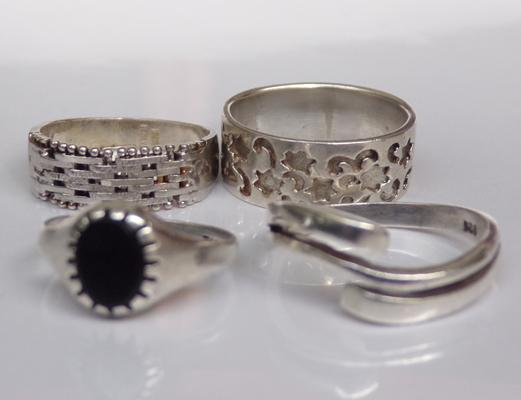4x 925 silver rings - various sizes and designs