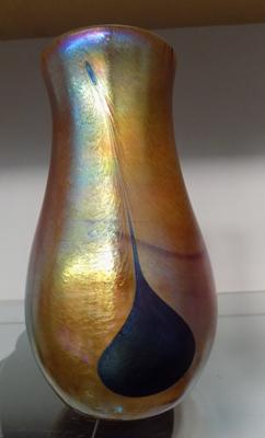 John Ditchfield for Glasform, iridescent gold vase with iridescent petroleum pearl drops, J Ditchfield etched to base, No. 5680 no damage found