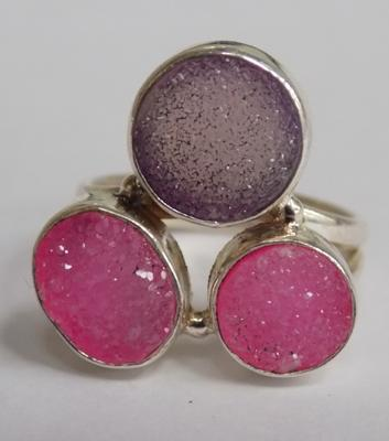 Silver pink drusy ring