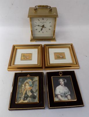 Selection of collectables including; carriage clock
