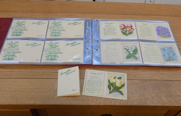 Set of 60 Kensitas flowers medium sized cards in album-with 2 extra cards