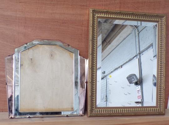 Beveled edge mirror and Art Deco picture frame    (needs attention)