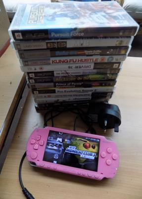 Pink PSP w/o with charger & 13 games/UMD's inc GTA, Needs for Speed & Pes