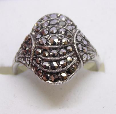 Vintage 925 silver marcasite ring - Size K